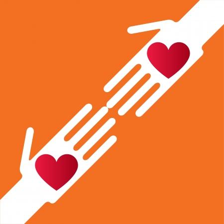 genegenheid: Silhouette helpende hand whit harten Stock Illustratie