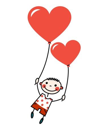 dessin coeur: Garçon souriant avec des ballons en forme de coeur Illustration