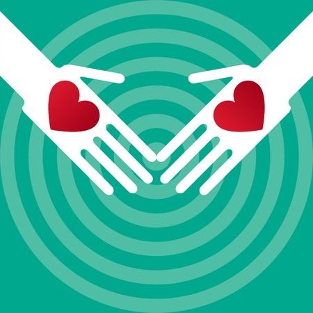 solidaridad: Silueta manos tocando los corazones de Pentecost�s