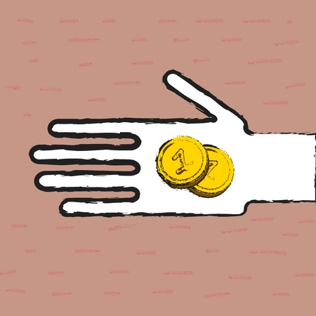 destitution: Beggar hand with coins