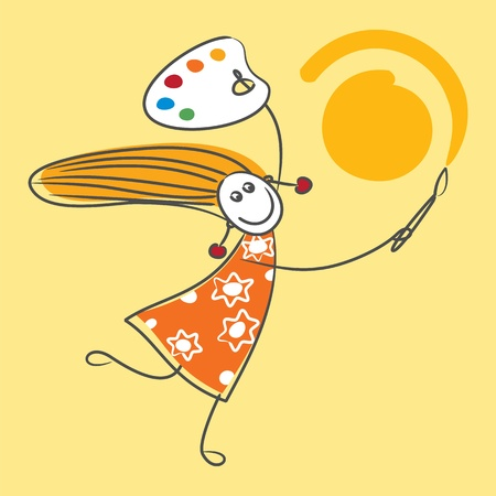 canvas painting: Happy girl drawing sun
