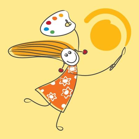 Happy meisje tekening zon