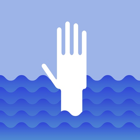 Hand of drowning man Stock Vector - 12208514