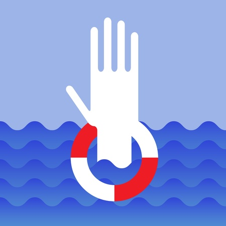 overwhelmed: Hand of drowning man