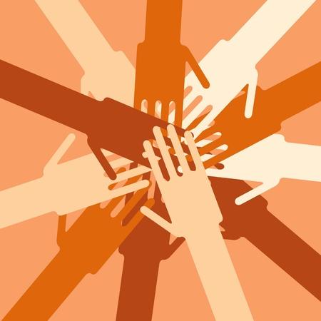 joined hands: Las manos la unidad humana