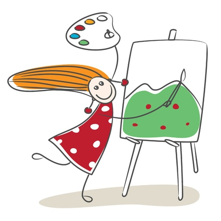 canvas painting: Happy little girl drawing mountain Illustration
