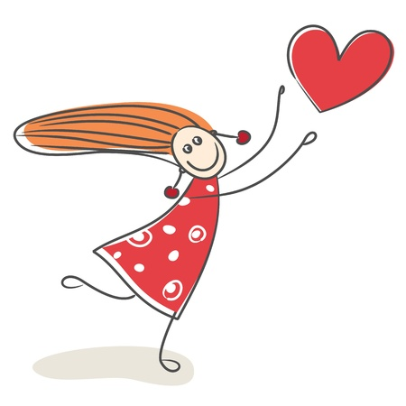 virgin: Happy little girl in love