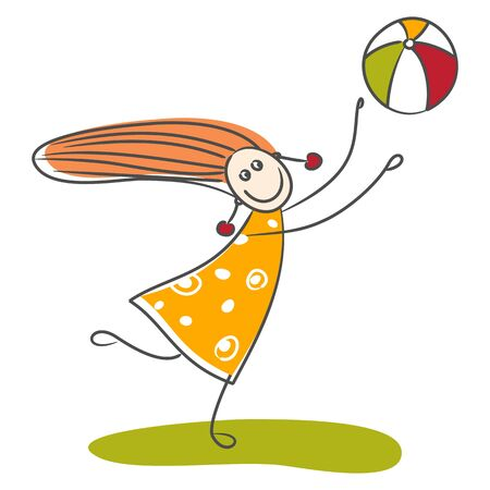 the infancy: Little girl playing ball