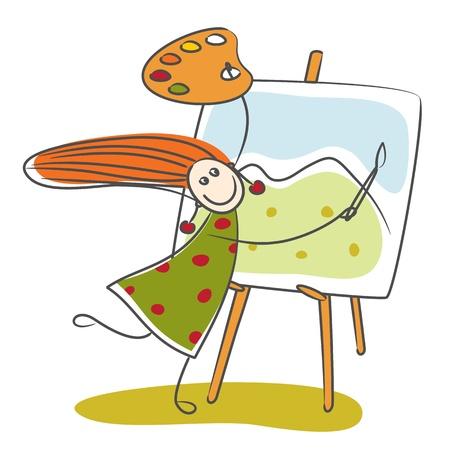 happiness: Feliz niña de montaña dibujo