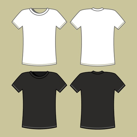 blank shirt: Black and white t-shirt template