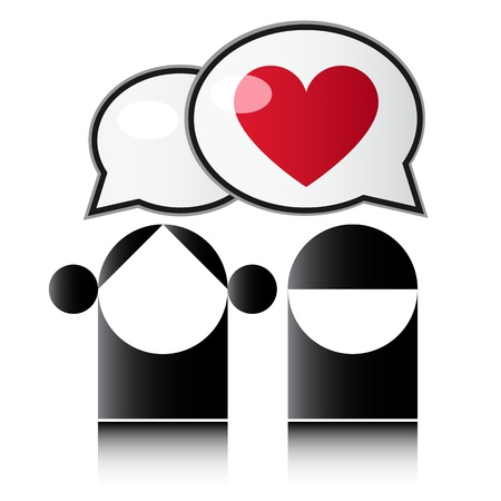 Two people with red heart Stock Vector - 12484353