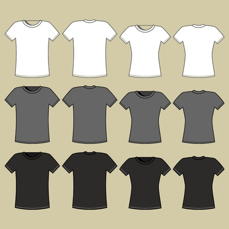 print shop: Black, gray and white t-shirt template  Illustration