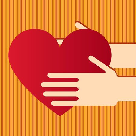 charitable: Illustration of hands with heart Illustration