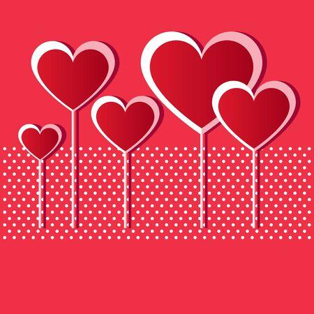 Valentine red hearts Vector Illustration