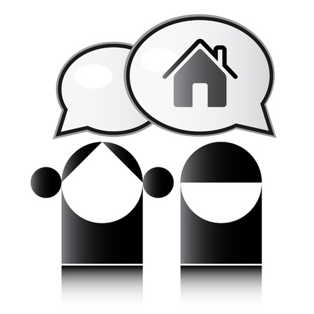 two people talking: Two people talking about the house  Illustration