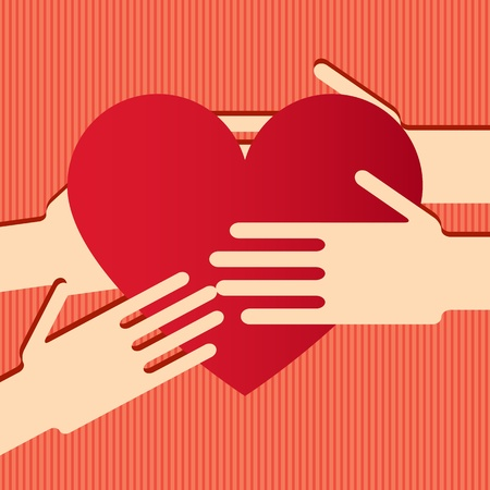Illustration of hands with heart  Illustration