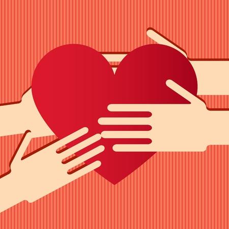 Illustration der Hände mit Herz