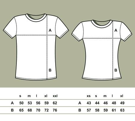 T-Shirt Größen Männer und Frauen