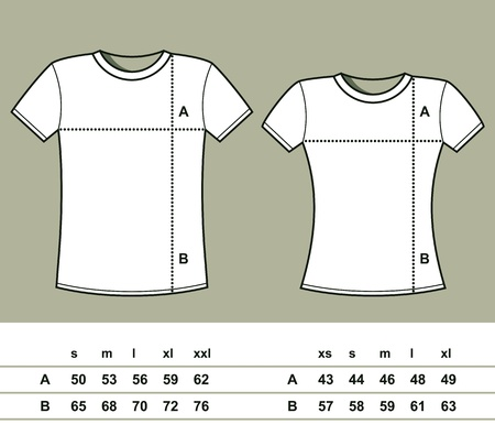 table sizes: T-Shirt Sizes  men and women