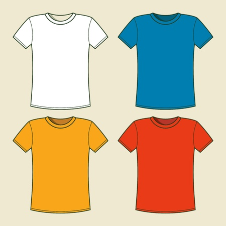 yellow shirt: Colorful t-shirts template – vector illustration