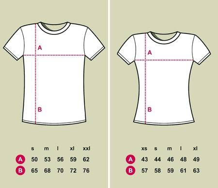 width: T-Shirt Sizes (men and women) illustration