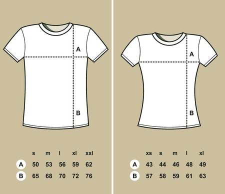 T-Shirt Sizes (men and women) illustration Vector