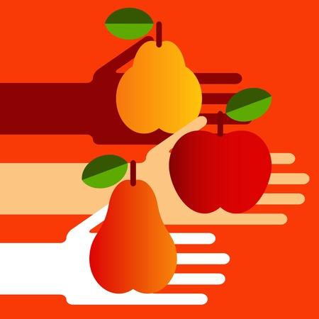 Hands full of ripe fruit  Vector