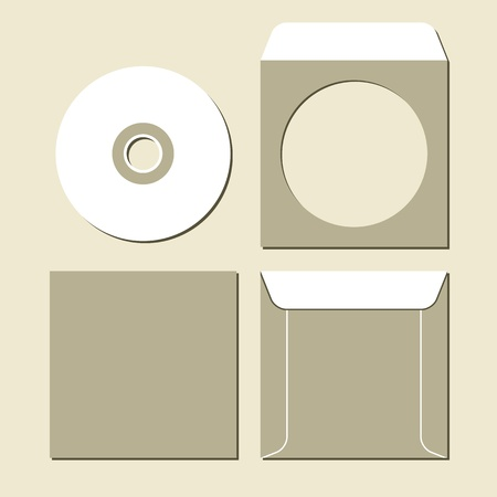Blank white compact disc with a gray background Vector