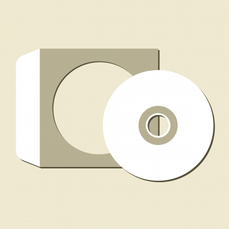 recordable: Blank white compact disc with a gray background Illustration