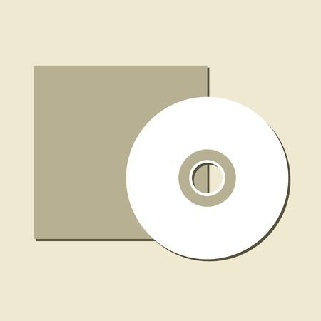 rom: Blank white compact disc with a gray background Illustration