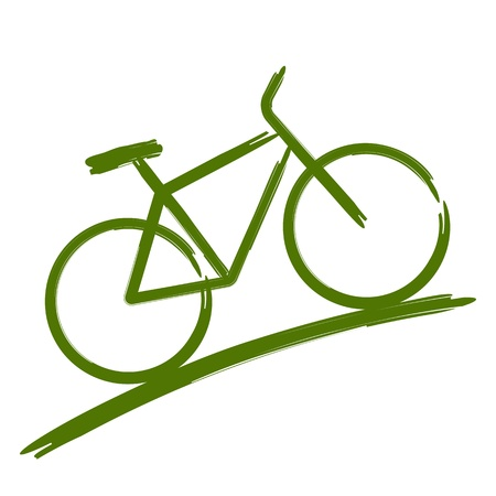 fiets: Groen fiets Stock Illustratie
