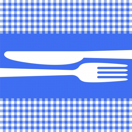 dishware: Cutlery silhouettes on blue tablecloth
