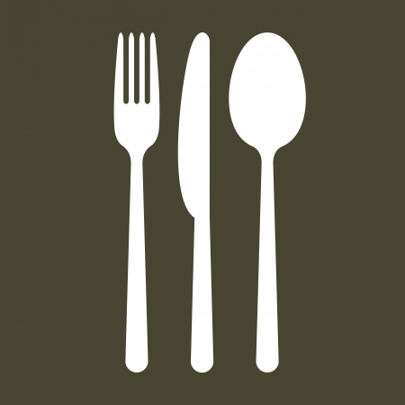 knife and fork: Cutlery on black background Illustration
