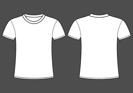 En blanco t-shirt plantilla delantera y trasera Ilustración de vector