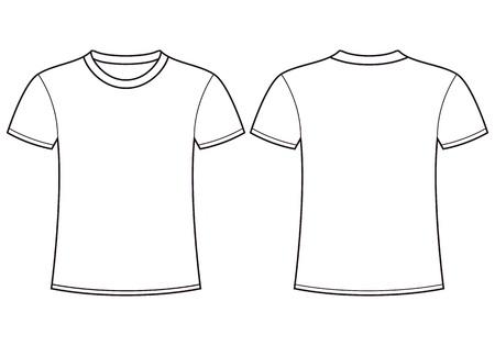 En blanco t-shirt plantilla delantera y trasera