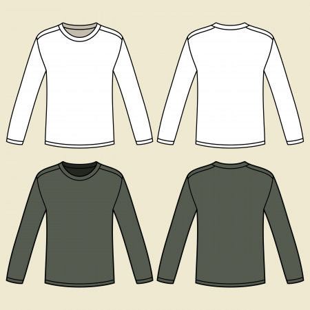 white long sleeve: Blank long-sleeved T-shirts template