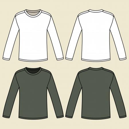 white blouse: En blanco de manga larga camisetas plantilla