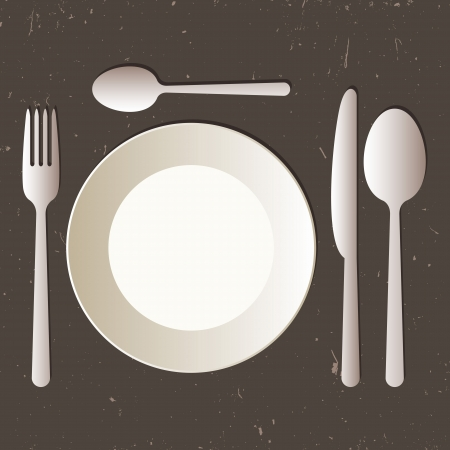 dinnerware: Place setting with plate, knife, spoons and fork