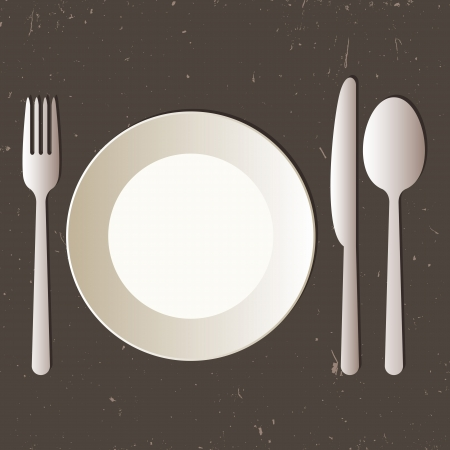 dinnerware: Place setting with plate, knife, spoon and fork