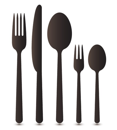 cuchara y tenedor: Cubiertos Vectores