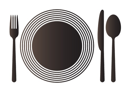 dinnerware: Plate, knife, spoon and fork