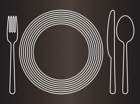 Plate, knife, spoon and fork Vector