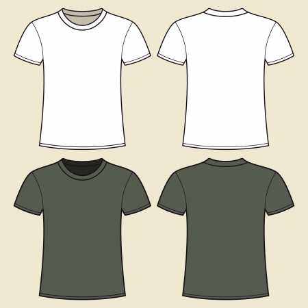 shirt template: Gray and white t-shirt design template Illustration
