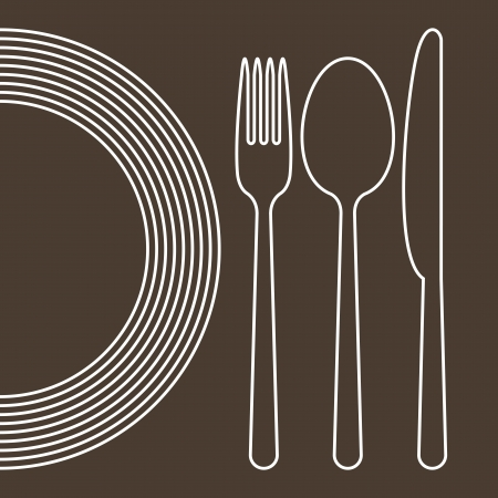 spoon and fork: Plate, knife, spoon and fork