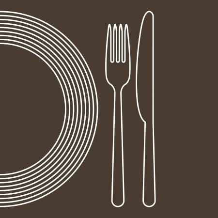 cuchillo y tenedor: Plato, cuchillo y tenedor Vectores