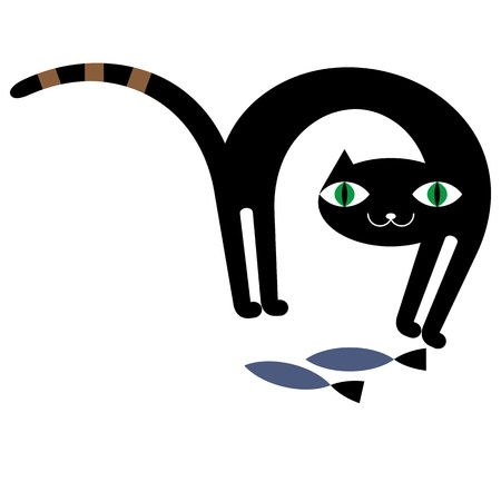 Black cat and fishes Vector
