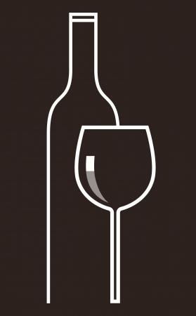 material de vidrio: Botella de vino y vasos