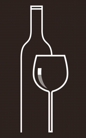 red wine pouring: Bottle of wine and glasses