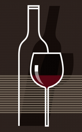 Red wine and glasses Stock Vector - 14565619