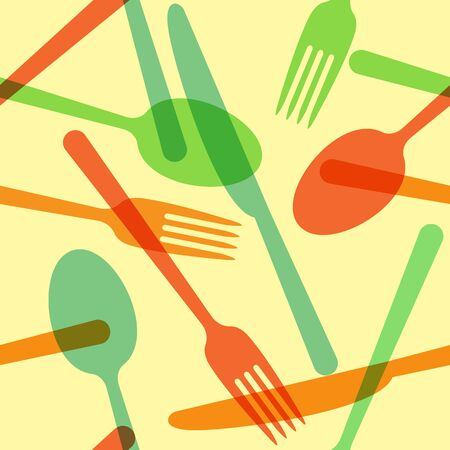 Colorful cutlery pattern Vector